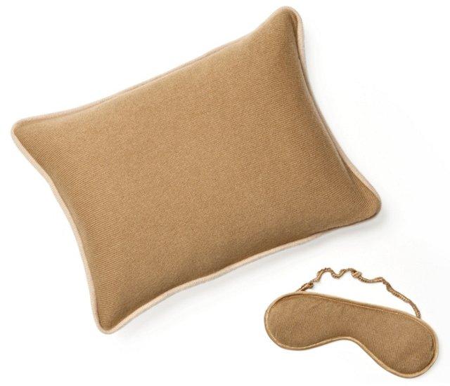 Travel Pillow & Eye Mask Set, Camel