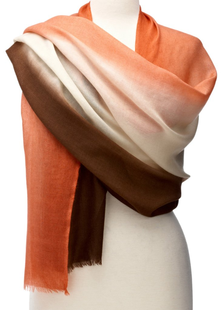 Ombré Cashmere Wrap, Pink/Brown
