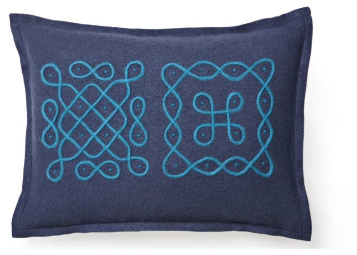 Cashmere 12x16 Travel Pillow, Blue