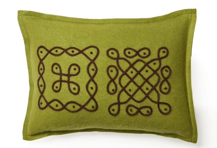 12x16 Travel Pillow, Green/Brown
