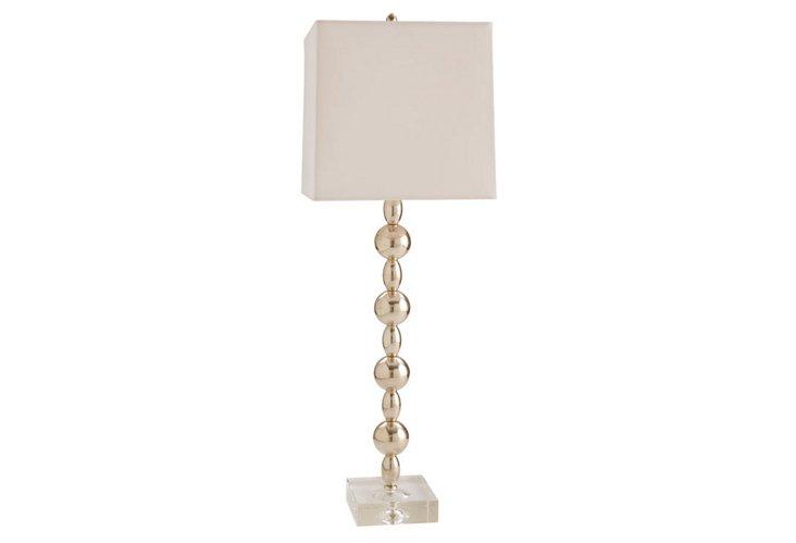 Arcadia Polished Nickel/Crystal Lamp
