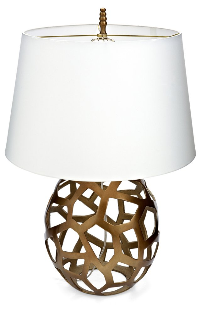 Brass Web Sphere Table Lamp