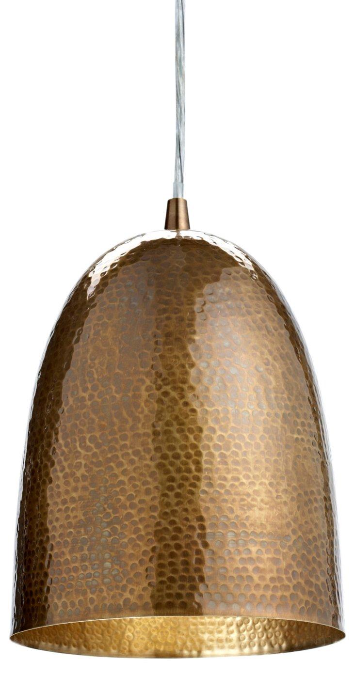 Hammered Pendant, Brass