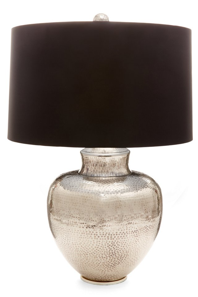 Hammered Table Lamp, Silver