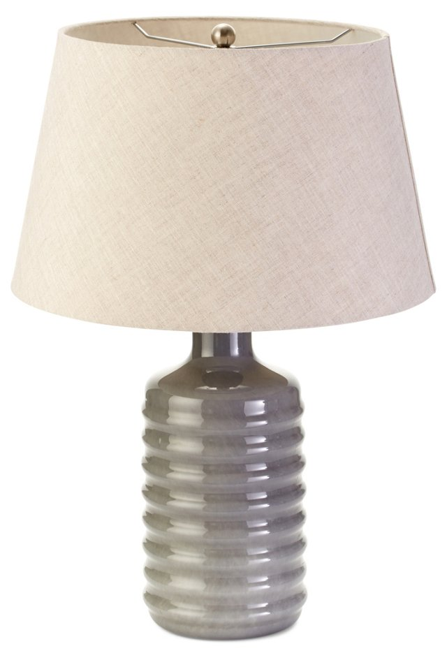 Cased Glass Table Lamp, Gunmetal Gray