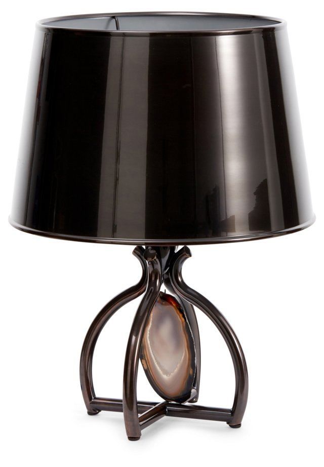 Agate Accent Table Lamp, Aged Bronze