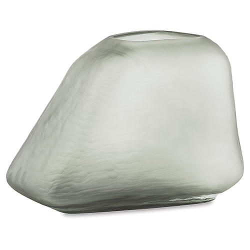 Saxton Glass Vase, Smoky Gray