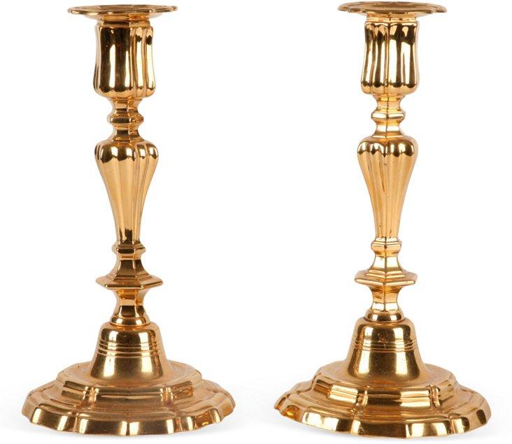 Vermeil Plated Candlesticks, Pair