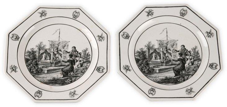 Italian Soft Porcelain Plates, Pair