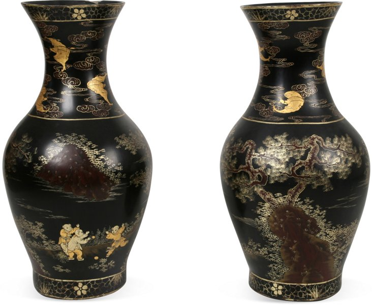 Antique Coromandel-Style Urns, Pair