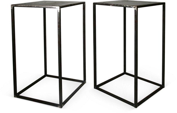 Raw Steel Pedestals, Pair