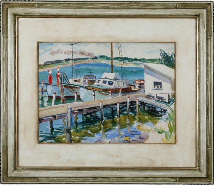 Watercolor, Boat Scene II