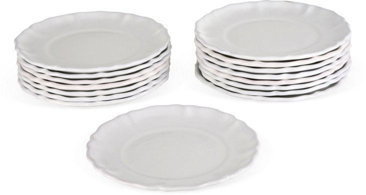 French Faïence Plates, Set of 16