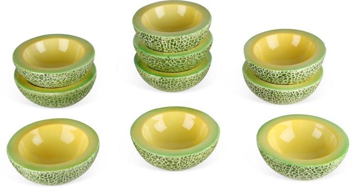 Trompe L'oeil Faience Melon Bowls, Set of 10