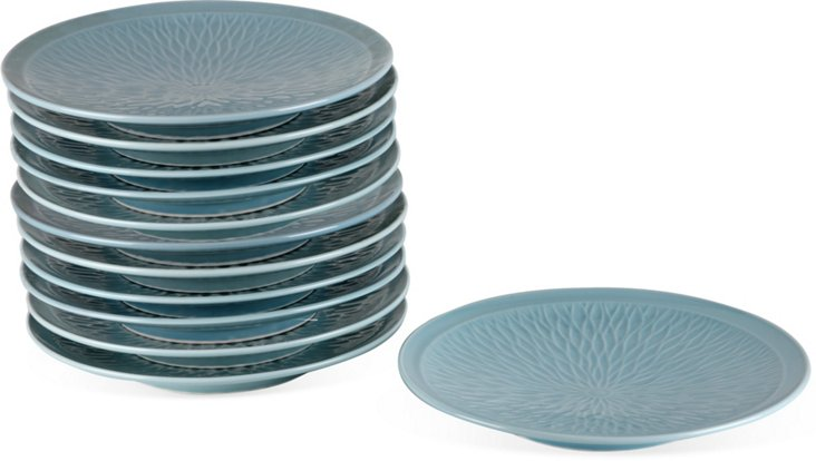 Blue Japanese Charger Plates, Set of 12