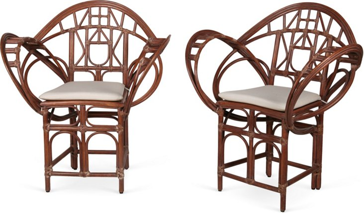 McGuire Butterfly Chairs, Pair