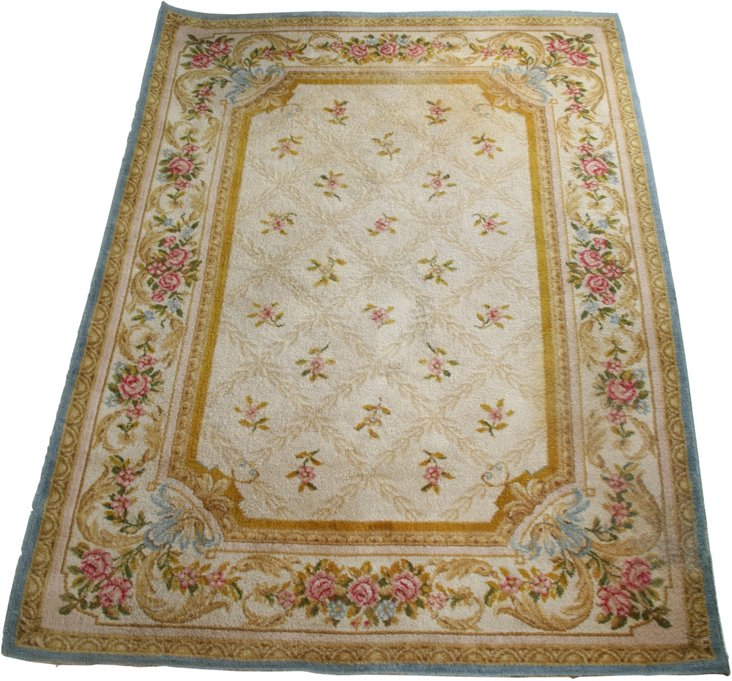 """French Savonnerie Wool Rug, 7'7"""" x 5'6"""""""