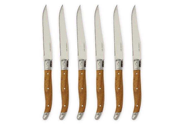 S/6 Laguiole Steak Knives, Wood