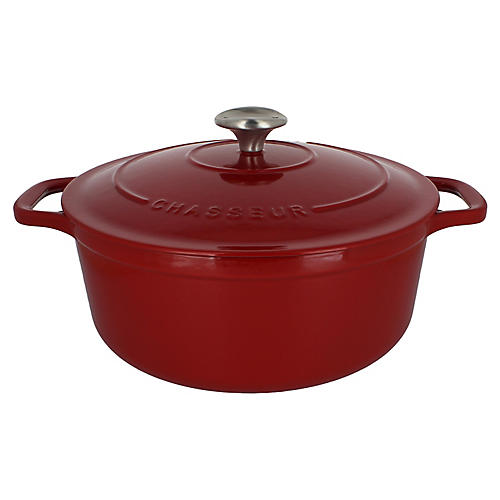 7.1-Qt Chasseur Round Cast Iron Crockpot, Red