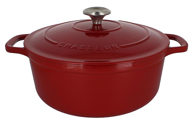 7.1-Qt Chasseur Round Cast Iron Crockpot, Red