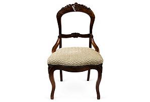 Wood Chair w/ Velvet Chevron Seat