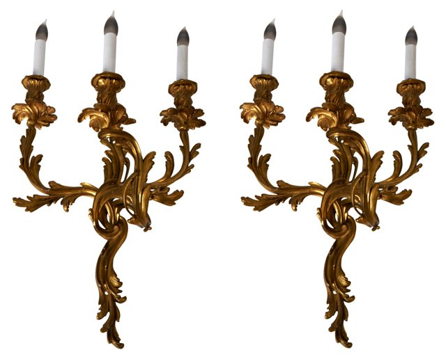 French Bronze Gilded Wall Sconces, Pair