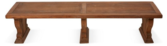 1930s French Architectural Oak Bench
