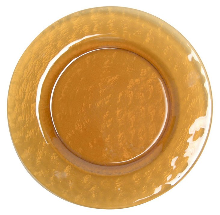S/4 Glass Colby Salad Plates, Amber