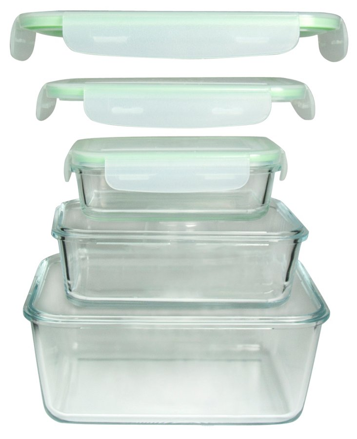 S/3 Nested Rectangle Containers w/ Lids