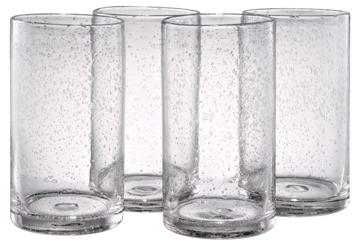 S/4 Iris Highball Glasses, Clear