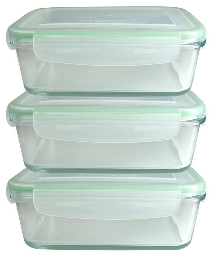 S/3 Rectangle Containers w/ Lids