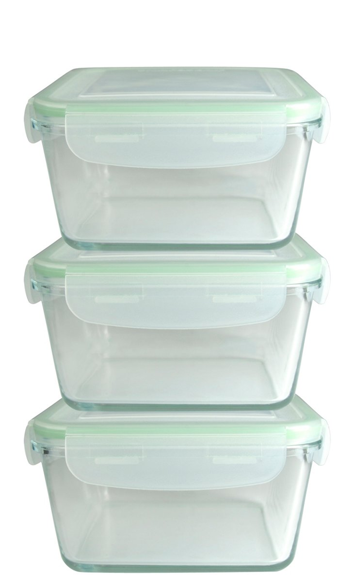 S/3 Square Containers w/ Lids