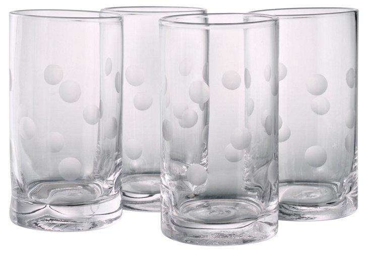S/4 Polka-Dot Highball Glasses