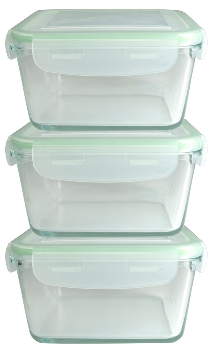 S/3 Square Snap and Seal Containers