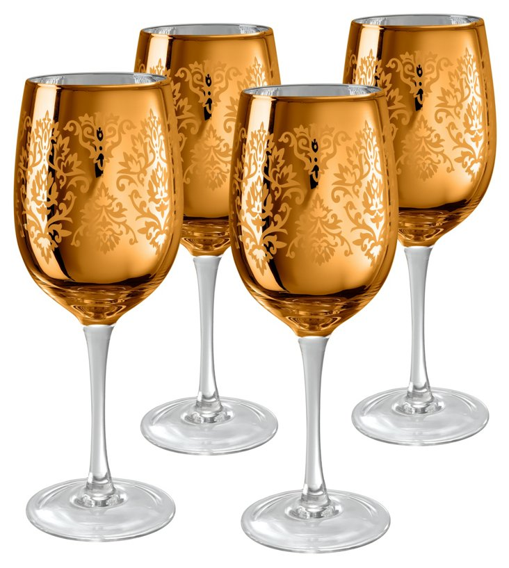 S/4 Brocade Wine Glasses, Gold
