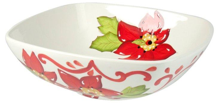"Floral Serving Bowl, 9.7"" Red/Green"