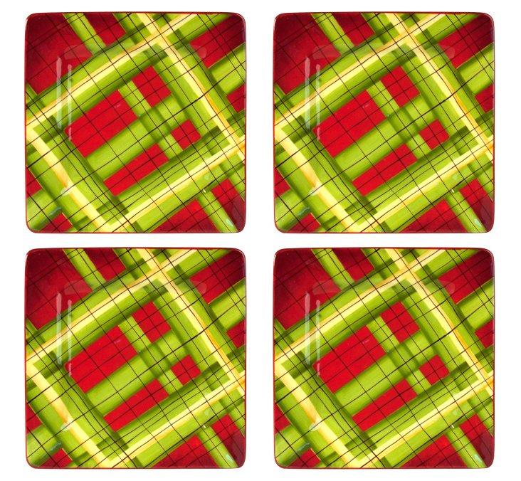 S/4 Hand-Painted Plaid Salad Plates