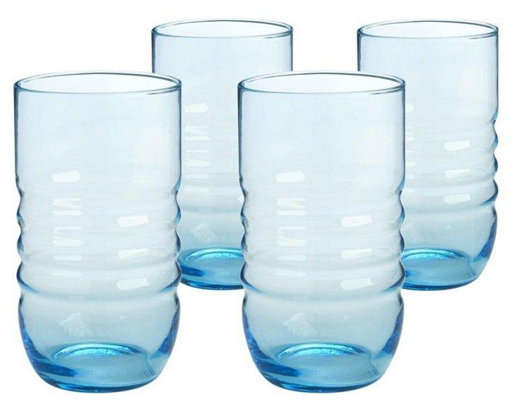S/4 Ribbed Highball Glasses, Aqua