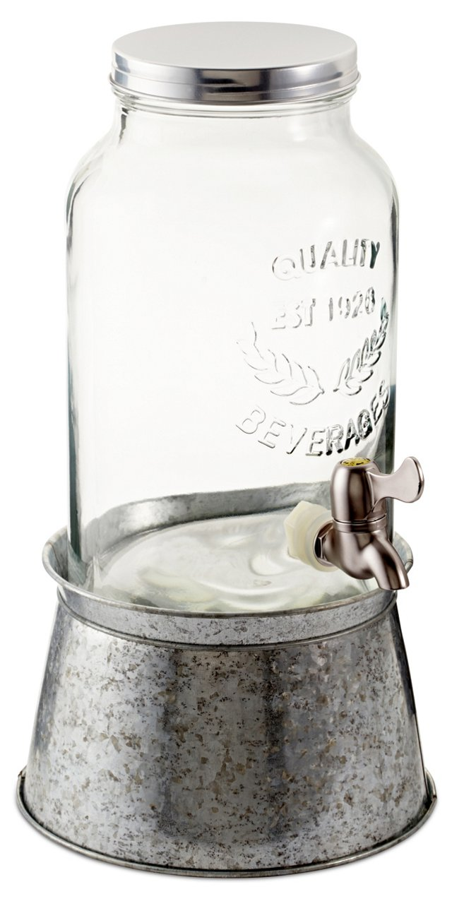 Oasis Beverage Server, Galvanized Silver