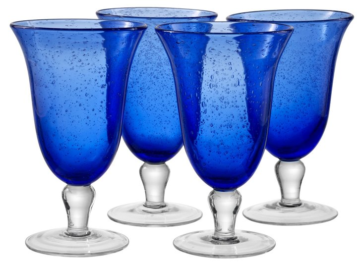 S/4 Iris Iced Tea Glasses, Cobalt Blue