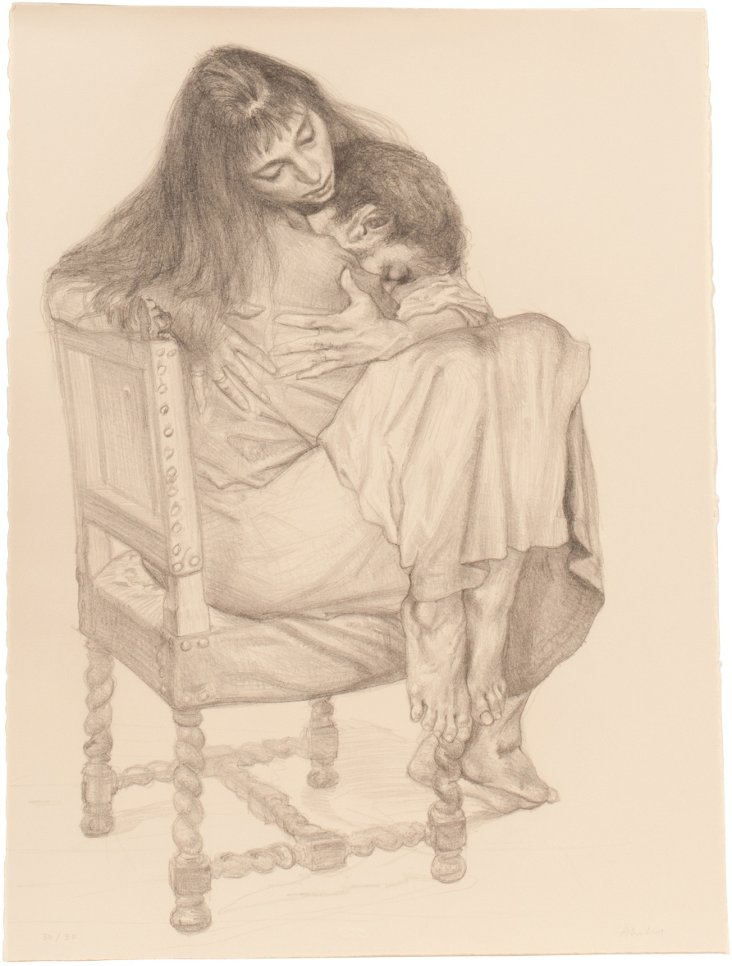 Embracing Couple Lithograph