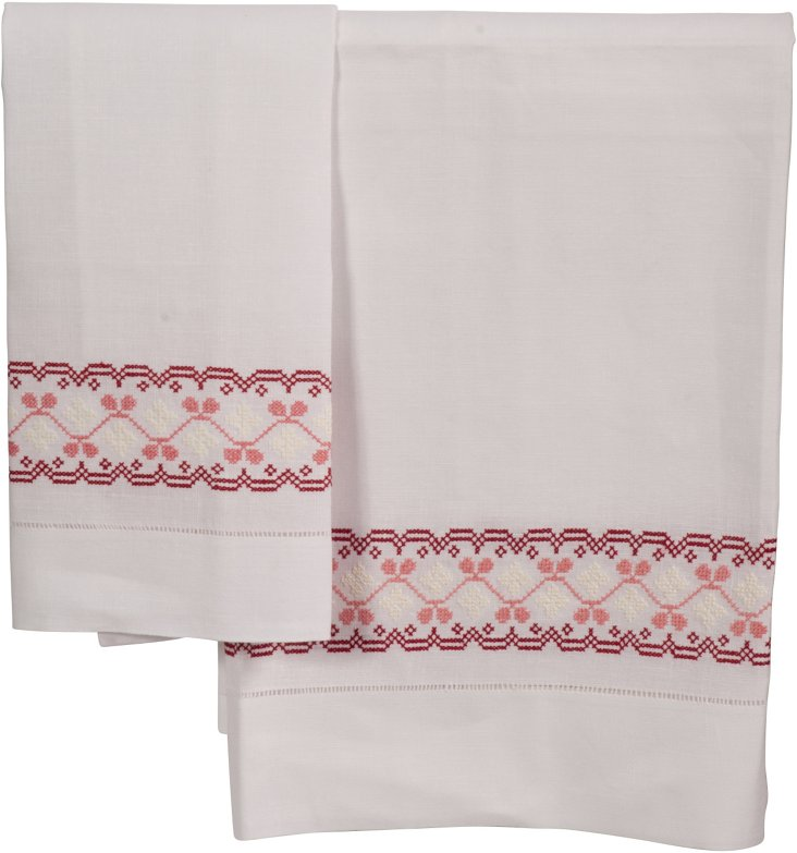 Red Guest Towels, Set of 2