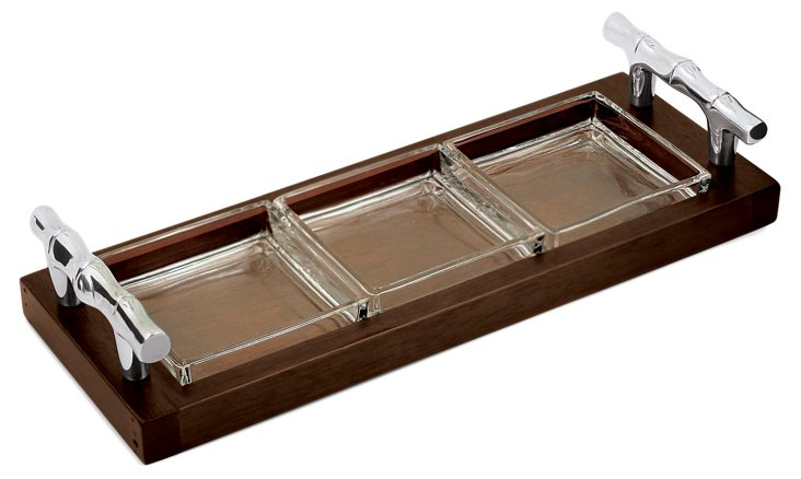 Rect. Bamboo Sectional Server, Rosewood