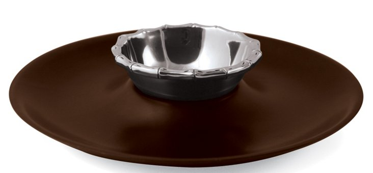 Bamboo Chip & Dip Tray, Rosewood
