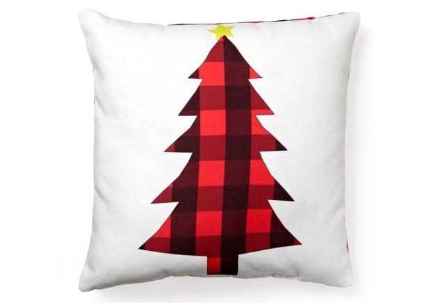 Plaid Tree 18x18 Pillow, White/Red