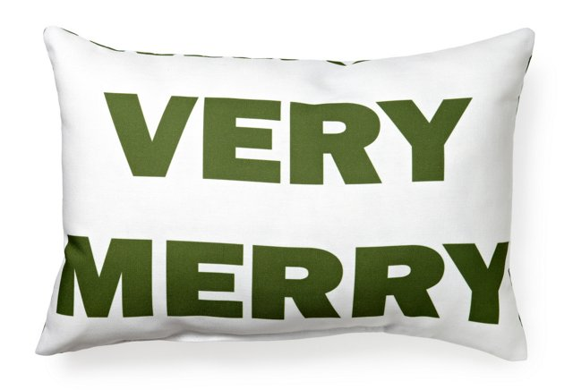 """Very Merry"" 14x20 Pillow, White/Green"