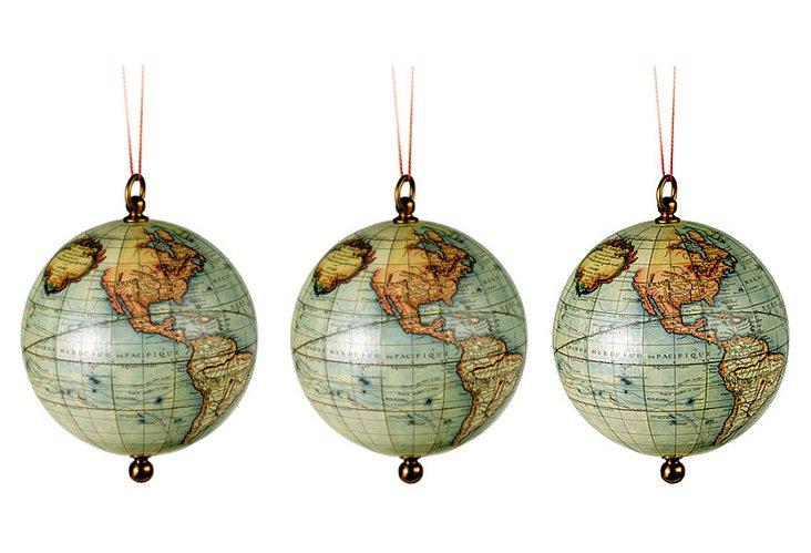 S/3 Vaugondy Globe Ornaments