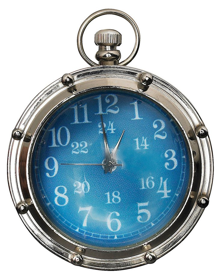 Porthole Eye of Time Clock, Nickel