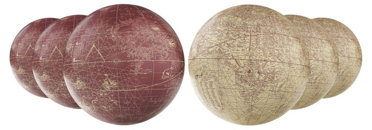 Asst. of 6 Mercators, Red/Ivory