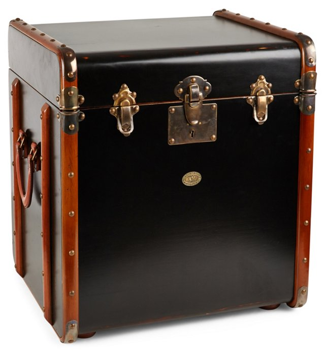 Stateroom Trunk Side Table, Ivory